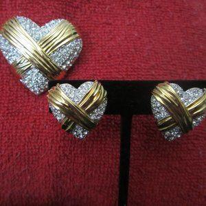 Brooch & Earring Set Gold & Swarovski Crystals